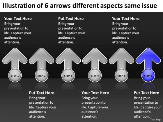 6 Arrows Different Aspects Same Issue Ppt Sample Business Plan PowerPoint Templates