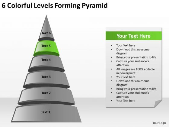 6 Colorful Levels Forming Pyramid Ppt Business Plan PowerPoint Templates