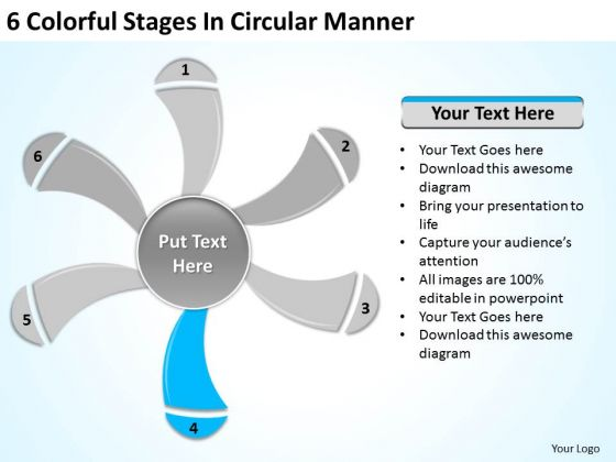 6 Colorful Stages In Circular Manner New Business Plan PowerPoint Slides