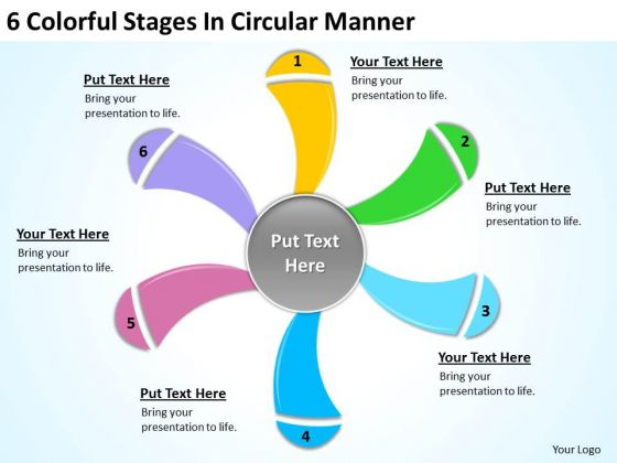 6 Colorful Stages In Circular Manner Ppt For Business Plan PowerPoint Templates