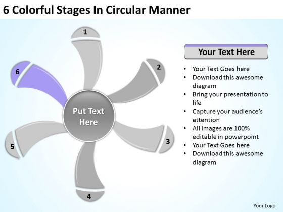 6 Colorful Stages In Circular Manner Ppt Score Business Plan PowerPoint Templates