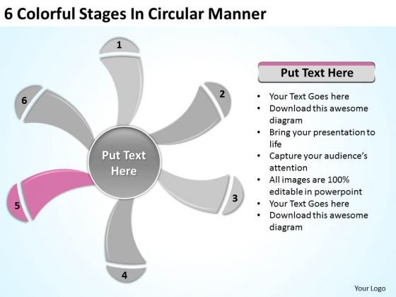 6 Colorful Stages In Circular Manner Standard Business Plan PowerPoint Slides