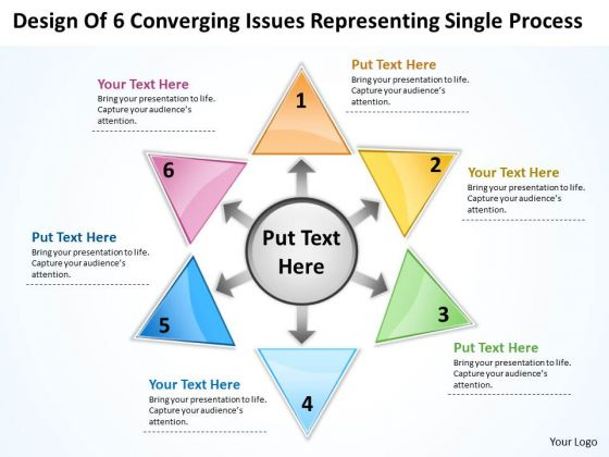 6 Converging Issues Representing Single Process Circular Motion Chart PowerPoint Templates