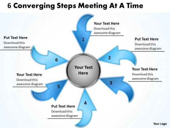 6 Converging Steps Meeting At Time Circular Flow Chart PowerPoint Slides