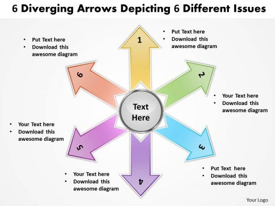 6 Diverging Arrows Depicting Different Issues Pie Process PowerPoint Slides