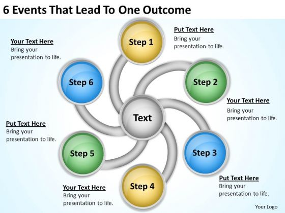 6 Events That Lead To One Outcome Business Plan Template Powerpoint