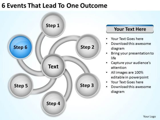 6 events that lead to one outcome quick business plan powerpoint