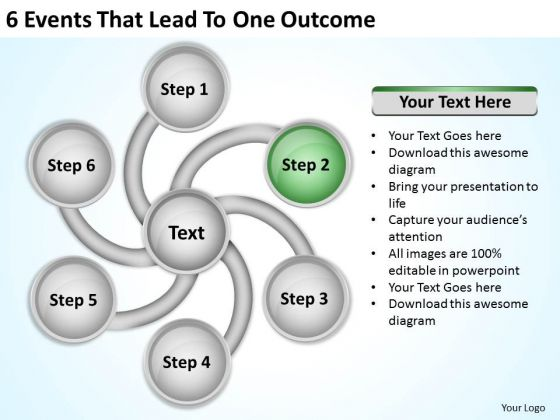 6 Events That Lead To One Outcome Top Business Plan PowerPoint Slides