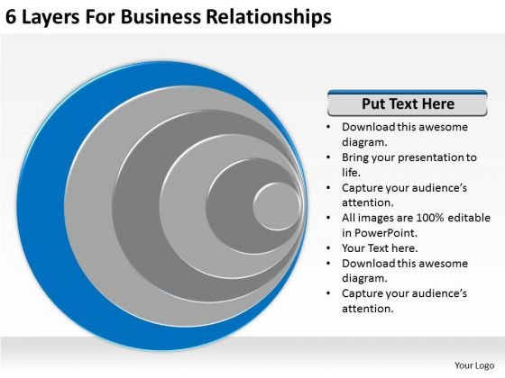 6 Layers For Business Relationships Ppt Plan Format PowerPoint Slides