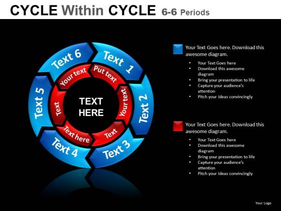 6 Stage 2 Layers PowerPoint Circle Chart Slides
