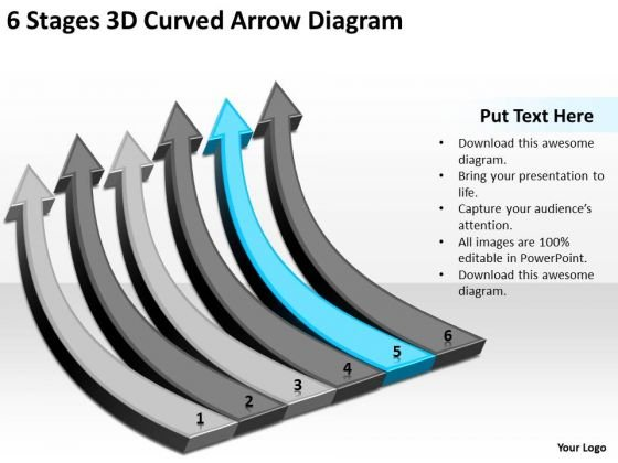 6 Stages 3d Curved Arrow Diagram Business Planning PowerPoint Templates