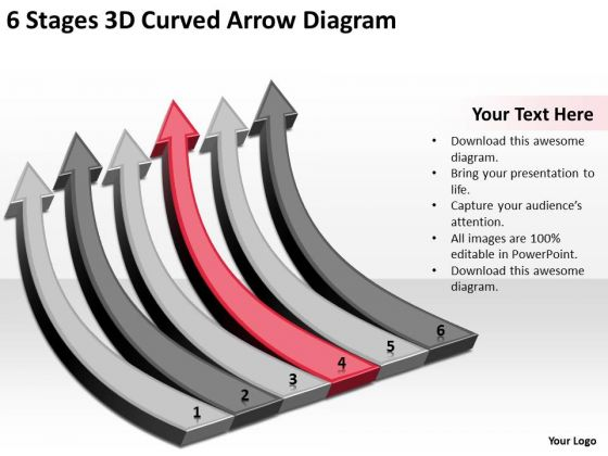 6 Stages 3d Curved Arrow Diagram Ppt Business Plan Model PowerPoint Templates