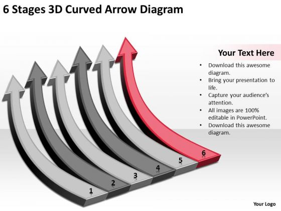 6 Stages 3d Curved Arrow Diagram Ppt Home Health Care Business Plan PowerPoint Templates