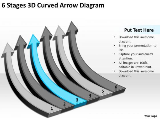 6 Stages 3d Curved Arrow Diagram Ppt Ice Cream Business Plan PowerPoint Slides