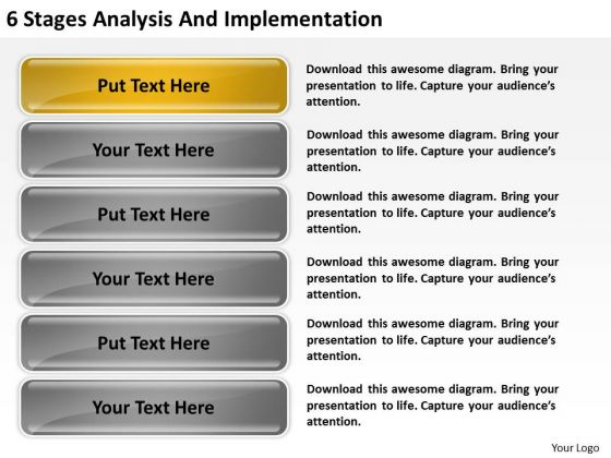 6 Stages Analysis And Implementation Ppt Business Plan Program PowerPoint Templates