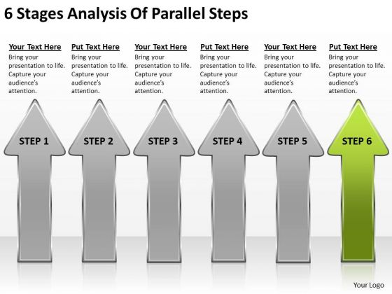 6 Stages Analysis Of Parallel Steps By Business Plan Template PowerPoint Slides