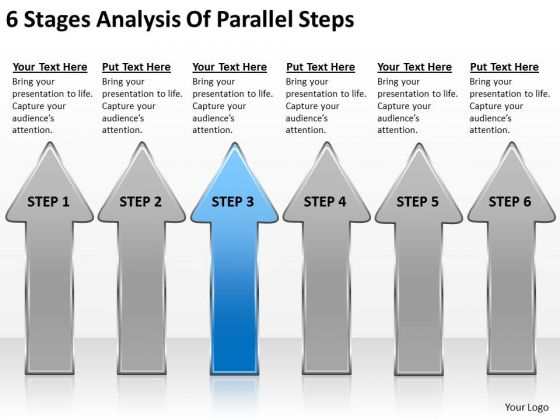 6 Stages Analysis Of Parallel Steps Writing Business Plan PowerPoint Slides