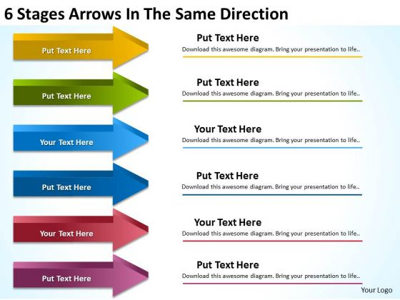 6 Stages Arrows In The Same Direction Business Plan For Small PowerPoint Templates