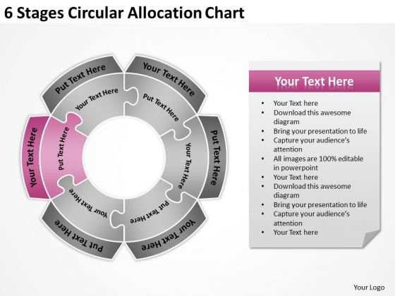 6 stages circular allocation chart annual business plan template