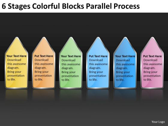 6 Stages Colorful Blocks Parallel Process Examples Business Plan PowerPoint Templates
