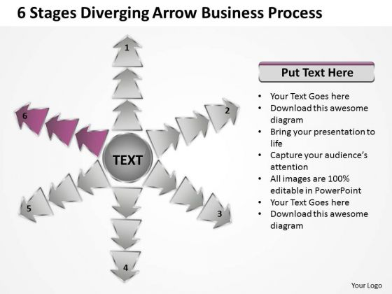 6 Stages Diverging Arrow Business Process Circular Spoke Network PowerPoint Template