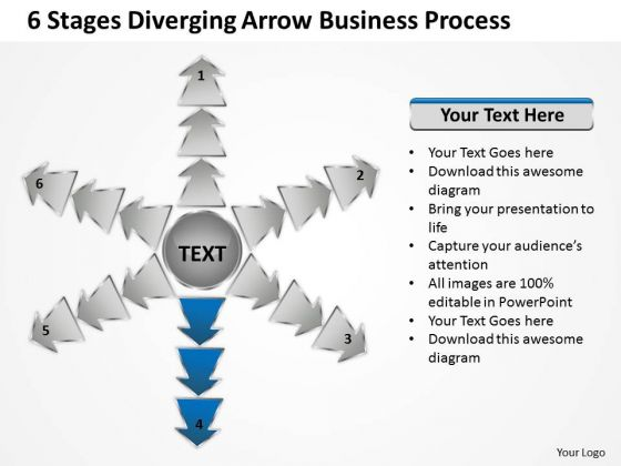 6 Stages Diverging Arrow Business Process Circular Spoke Network PowerPoint Templates