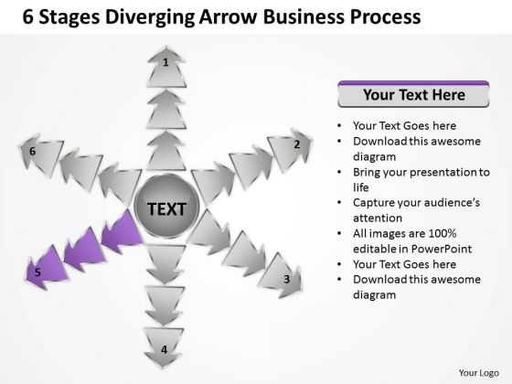 6 Stages Diverging Arrow Business Process Ppt Circular Spoke Network PowerPoint Templates