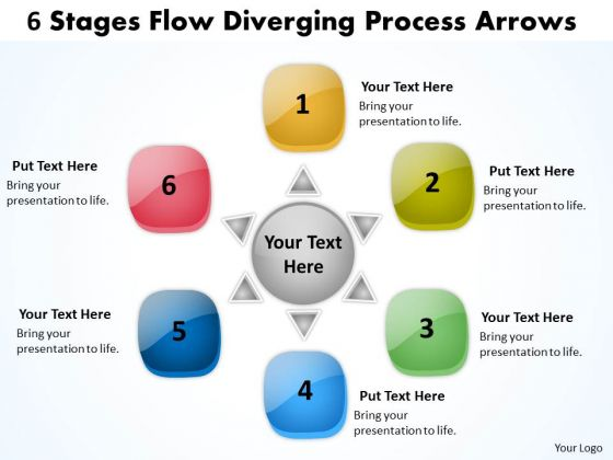 6 Stages Flow Diverging Process Arrows Relative Cycle Chart PowerPoint Slides