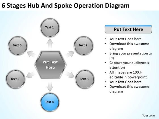 6 Stages Hub And Spoke Operation Diagram Company Business Plan PowerPoint Slides