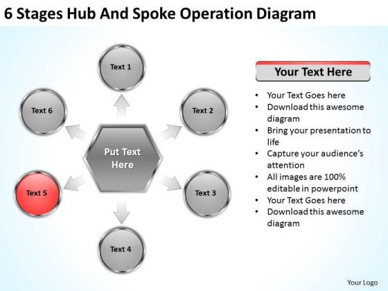 6 Stages Hub And Spoke Operation Diagram Ppt Business Executive Summary PowerPoint Slides