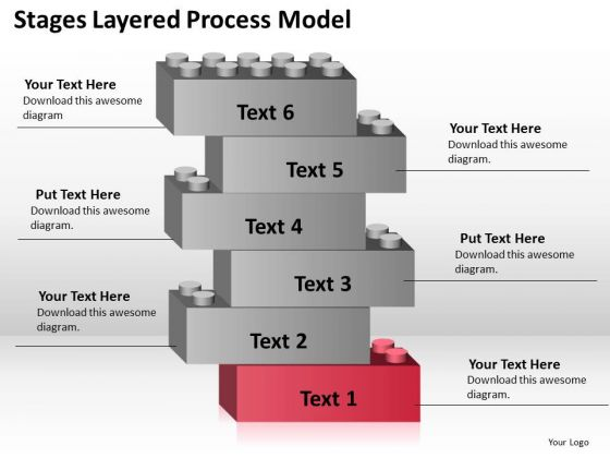6 Stages Layered Process Model Business Plan PowerPoint Templates