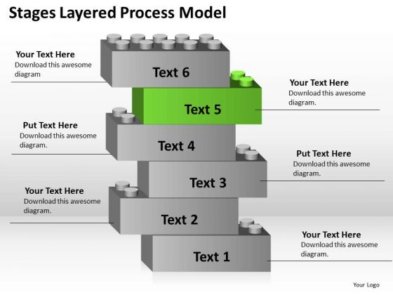 6 Stages Layered Process Model Plan For Business PowerPoint Templates