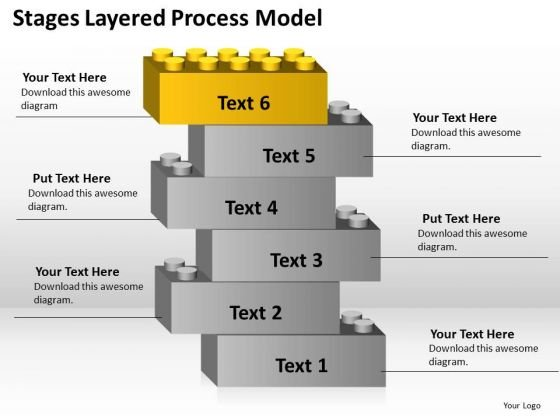 6 Stages Layered Process Model Ppt Business Plans PowerPoint Templates