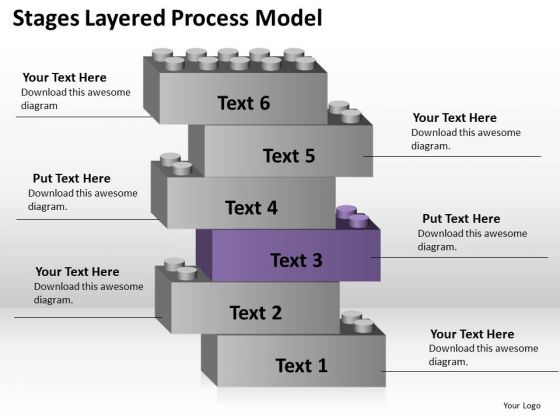 6 Stages Layered Process Model Standard Business Plan PowerPoint Templates