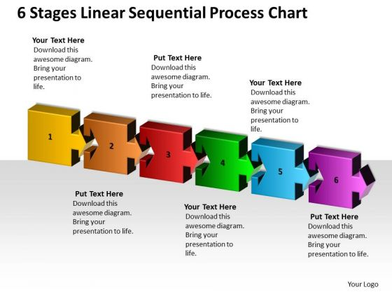 6 Stages Linear Sequential Process Chart Ppt Model Business Plan PowerPoint Templates