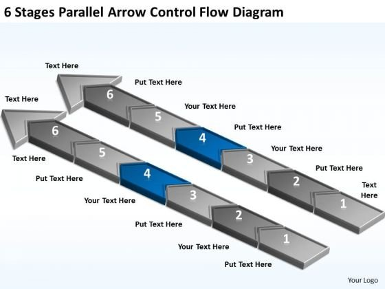 6 Stages Parallel Arrow Control Flow Diagram Business Plan Template PowerPoint Slides