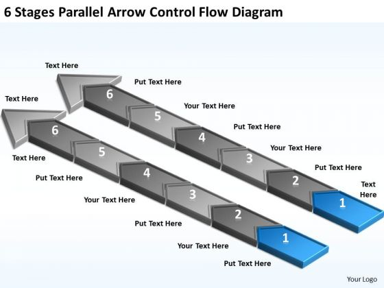 6 Stages Parallel Arrow Control Flow Diagram Formulate Business Plan PowerPoint Templates