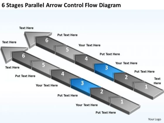 6 Stages Parallel Arrow Control Flow Diagram Hot To Write Business Plan PowerPoint Slides