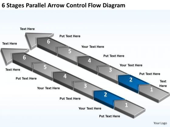 6 Stages Parallel Arrow Control Flow Diagram Startup Business Plan PowerPoint Slides