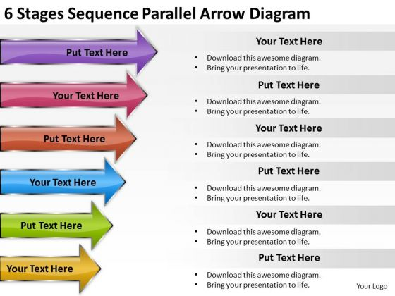 6 Stages Sequence Parallel Arrow Diagram Palo Alto Business Plan PowerPoint Slides