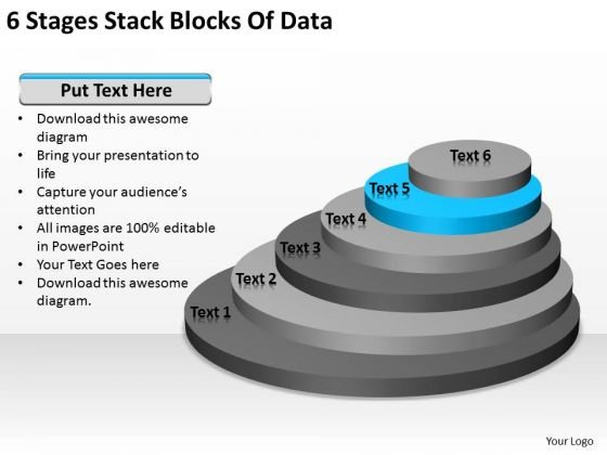 6 Stages Stack Blocks Of Data Business Plan Financials PowerPoint Slides