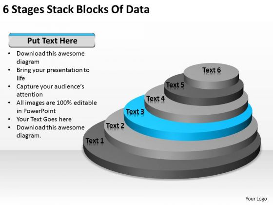 6 Stages Stack Blocks Of Data Business Plan PowerPoint Templates