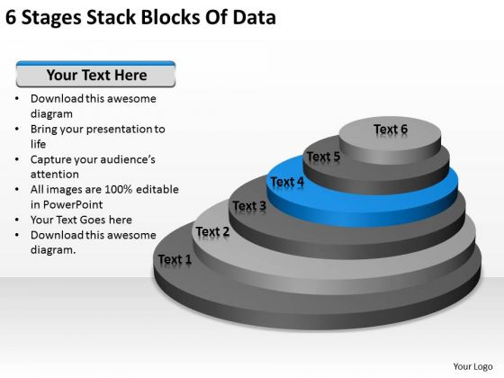 6 Stages Stack Blocks Of Data Business Plans For PowerPoint Templates