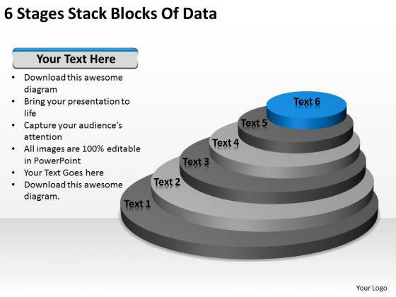 6 Stages Stack Blocks Of Data Ppt Example Business Plan Outline PowerPoint Slides