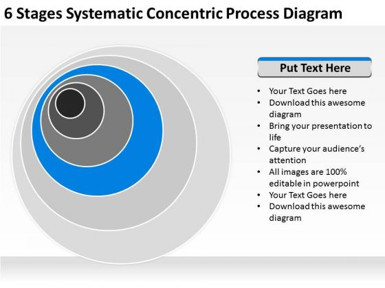 6 Stages Systematic Concentric Process Diagram Business Plan Companies PowerPoint Slides