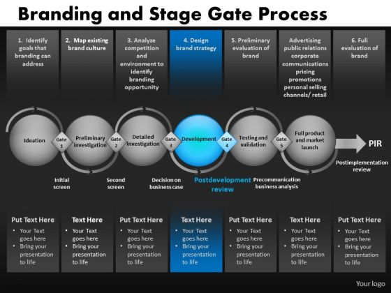 6 Stages With Gates Process Diagram PowerPoint Slides Ppt Templates