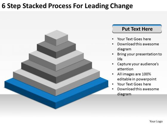6 Step Stacked Process For Leading Change Ppt Business Plan Financials PowerPoint Templates
