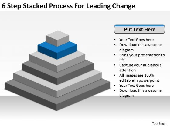 6 Step Stacked Process For Leading Change Ppt Business Plan Free PowerPoint Slides