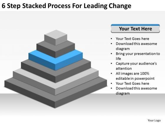 6 Step Stacked Process For Leading Change Ppt Business Plan Templates PowerPoint Slides