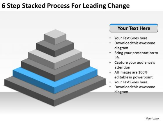 6 Step Stacked Process For Leading Change Ppt Examples Of Small Business Plans PowerPoint Slides